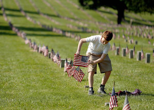 Christian Places U.S. Flag at Soldier's Graves