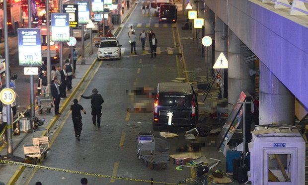 The scene left by two explosions and gunfire at Turkey's biggest airport. Photograph: AFP/Getty Images